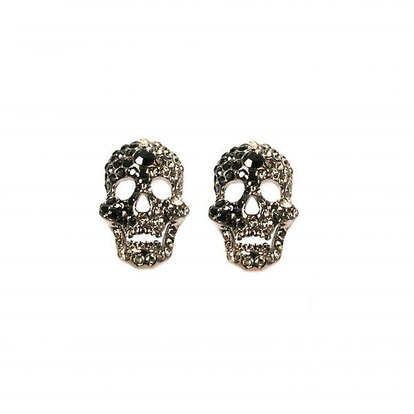 W.A.T Black Swarovski Crystal Skull Shaped Fashion Earrings