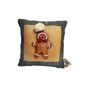 Kingfisher Gingerbread Christmas Hessian Cushion Decoration Green