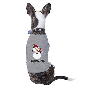 يستحق ذوبان ثلج تي شيرت الحيوانات الأليفة الكلب هدية العيد مضحكة لعشاق