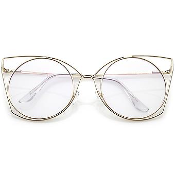 Oversize Slim Metal Cutout Cat Eye Glasses With Clear Flat Round Lens 58mm