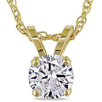 1/2ct Solitaire Round Diamond Pendant 14K Yellow Gold (I2-I3)