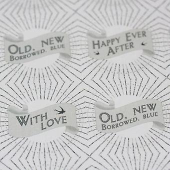 East of India Round Wedding Stickers - Mr Mrs, Happy Ever After  More x 40 Favours