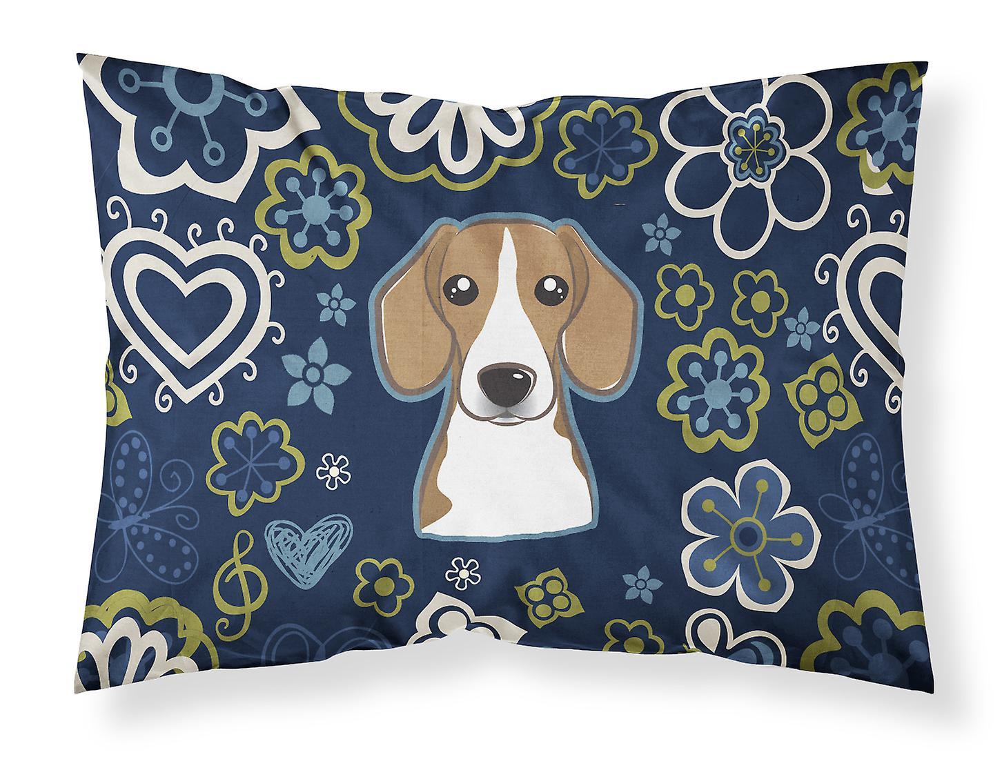 Tissu Fleurs Taie D'oreiller Bleues Standard Beagle De FKcl13TJ