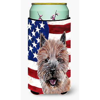 Norwich Terrier with American Flag USA Tall Boy Beverage Insulator Hugger