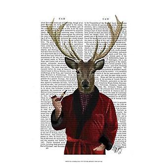 Deer in Smoking Jacket Poster Print by Fab Funky (13 x 19)
