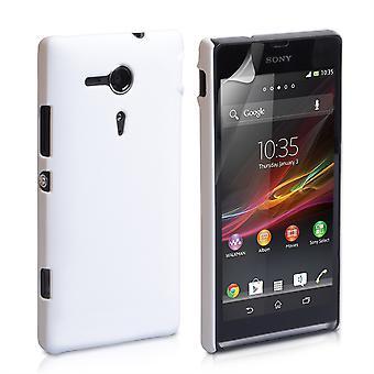 Yousave Zubehör Sony Xperia SP schwer Hybrid Case - weiß