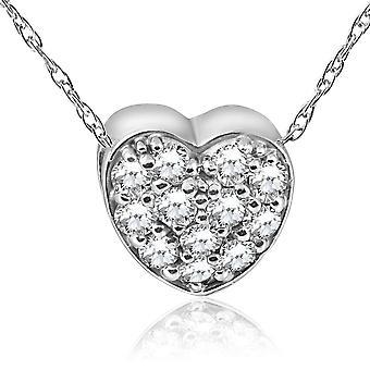 1/4ct Pave Diamond Petite Heart Pendant 14K White Gold 1/4