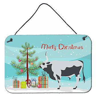 Hungarian Grey Steppe Cow Christmas Wall or Door Hanging Prints