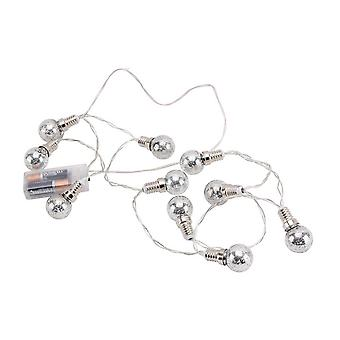 CGB Giftware Christmas Light Up Silver Bulb String