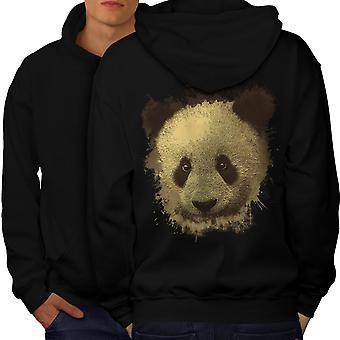 Panda Bear Cute Animal Men BlackHoodie Back | Wellcoda