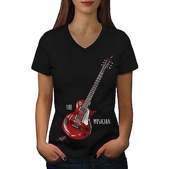 Musician Women BlackV-Neck T-shirt | Wellcoda