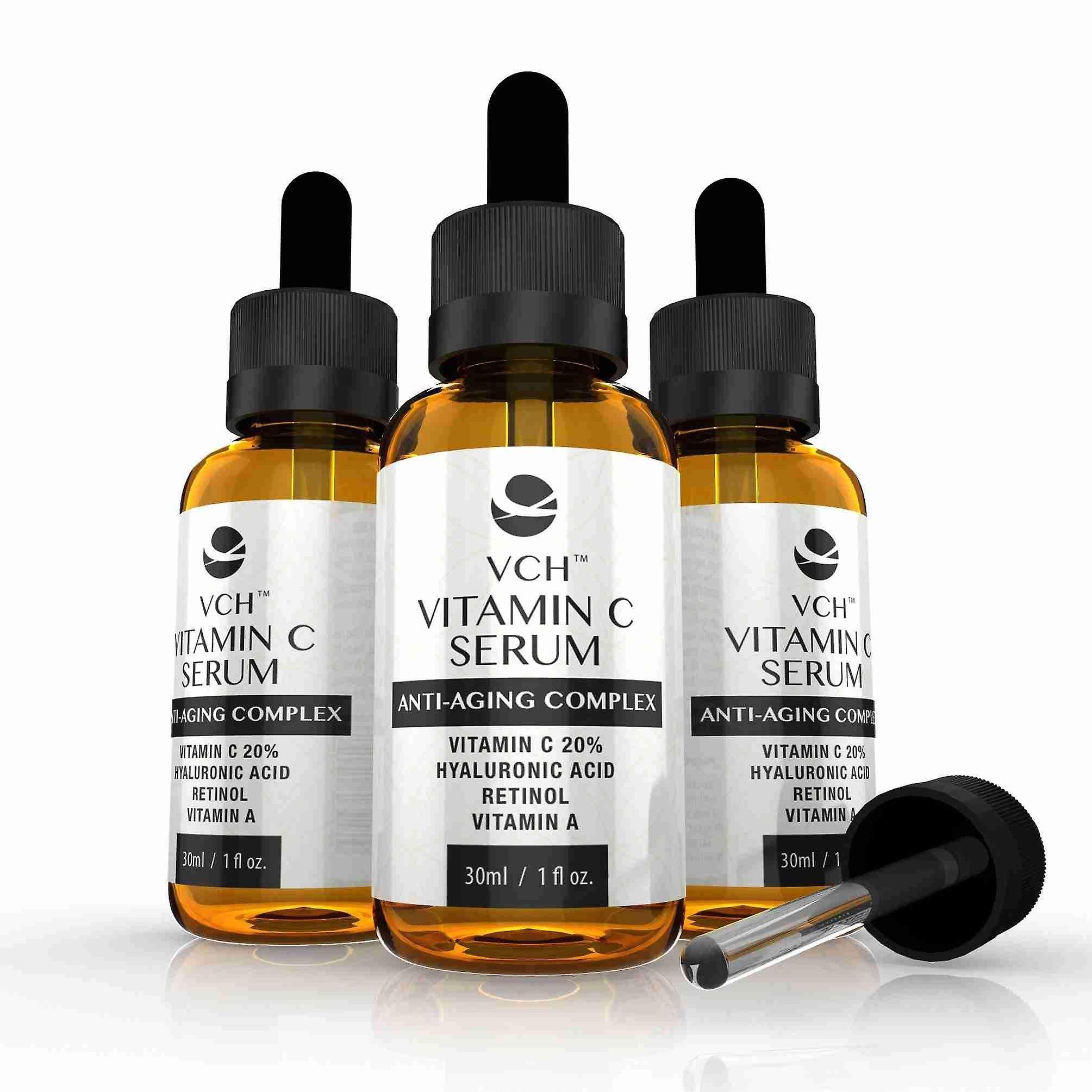 VCH 20% Vitamin C Serum with Hyaluronic Acid, Retinol and Vitamin A - 3 Bottles (90ml) - Vitamin C Anti-Aging Serum - Evolution Slimming