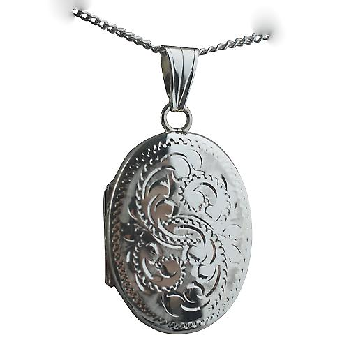 Silver 27x20mm oval Miraculous medal hand engraved Locket with a Curb chain