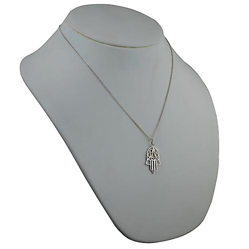 Silver 29x18mm Hand of Fatima Pendant with a curb Chain 20 inches