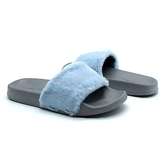 Atlantis Shoes Women Supportive Cushioned Comfortable Sandals Sliders Fluffy Blue