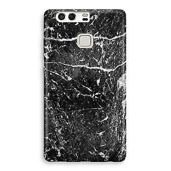 Huawei P9 Full Print Case - Black marble