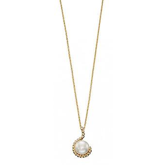 Elements Gold Pearl Cast Rope Pendant - Gold/White