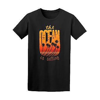 The Ocean Is Calling Palm Trees Tee Men's -Image by Shutterstock