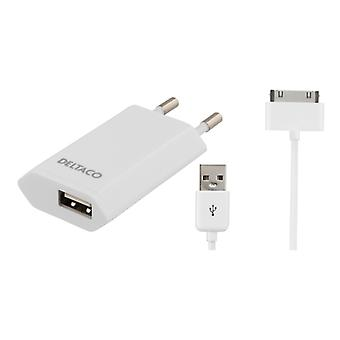 DELTACO charger to 230V, 1A for iPhone sync cable, 2 m, white