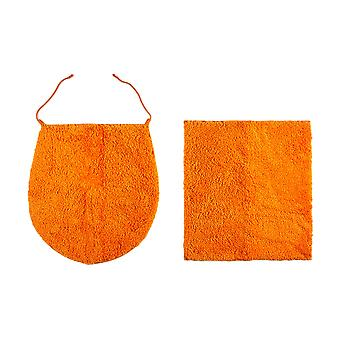 Heine home lid cover bath mat set 2 pieces Orange