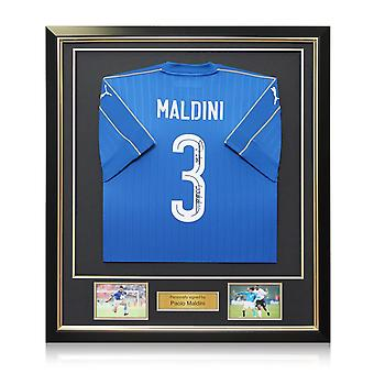 Paolo Maldini Signed 2016-17 Italy Puma Home Shirt In Deluxe Black Frame With Gold Inlay