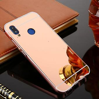 Mirror / Mirror aluminium bumper 2 pieces with cover Pink for Huawei P20 bag cover
