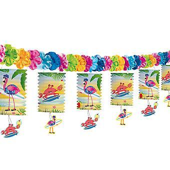 Cumpleaños fiesta de linterna Garland Garland del empavesado Flamingo Beach 3, 6 m