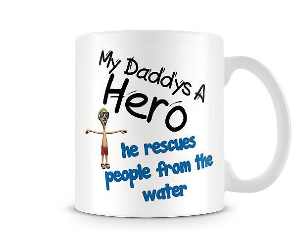 Mi papá rescata personas de agua impresión taza