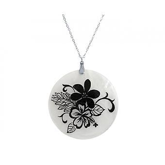 Gemshine - Damen - Halskette - Anhänger - Medaillon - Perlmutt - FLOWER BOUQUET - 925 Silber - Schwarz - 5 cm