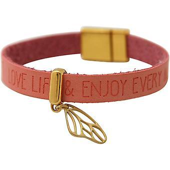 Gemshine - damer - armband - fjäril - wing - guldpläterat 925 Silver - guld pläterad - önskemål - rosa rosa - magnetlås