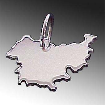 Trailer map Thuringia pendant in solid 925 Silver