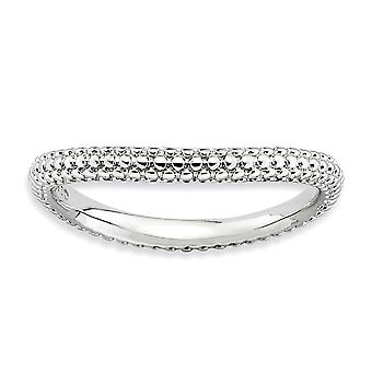 2.25mm Sterling Silver Patterned Rhodium-plated Stackable Expressions Polished Rhodium-plate Wave Ring - Ring Size: 5 to
