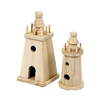 2 Wooden Lighthouses to Decorate - 13.5 & 18cm | Wooden Shapes for Crafts