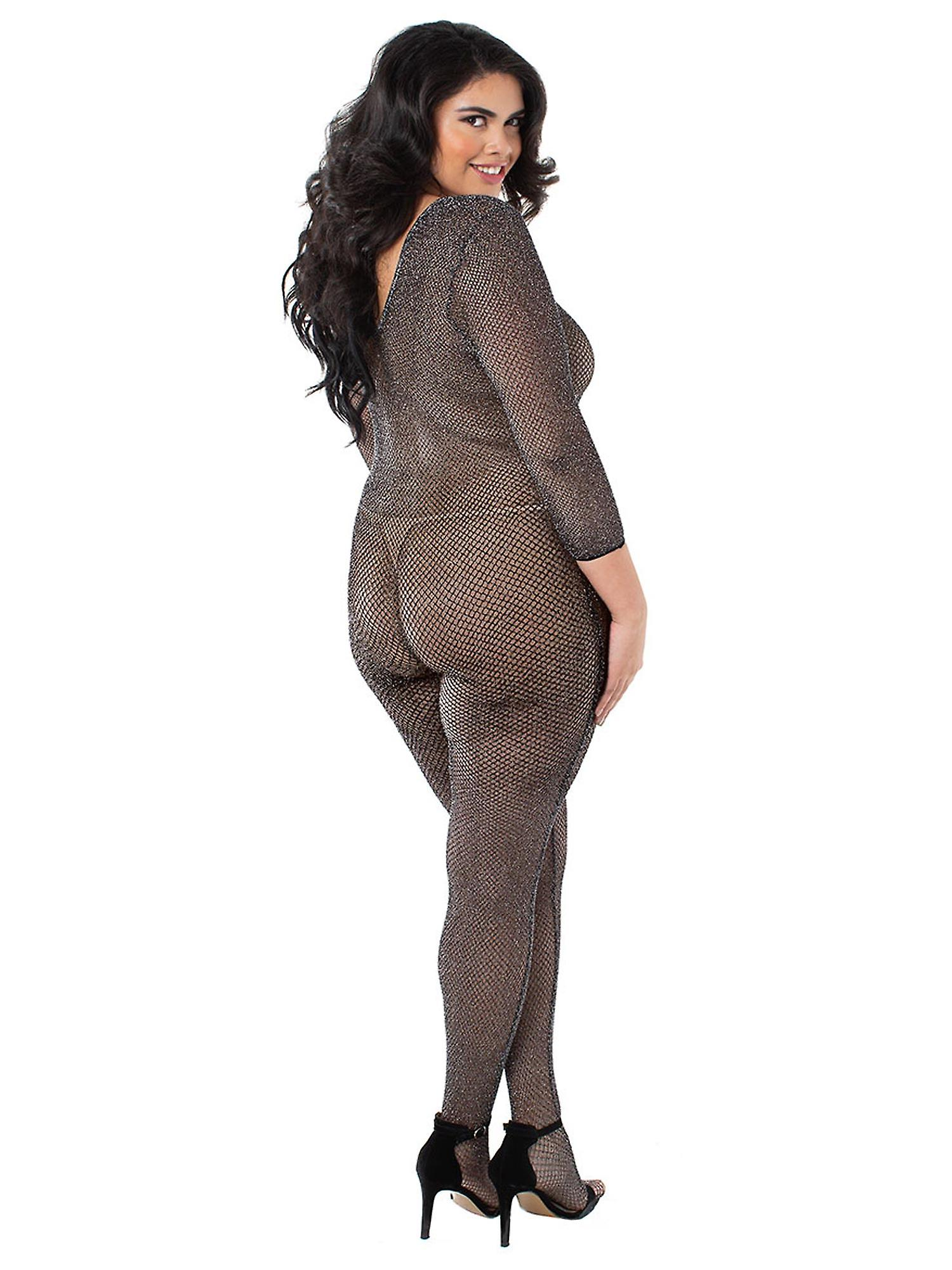 90c057ff46f Plus Size Black Metallic Knit Fishnet Long Sleeve Bodystocking Bodysuit