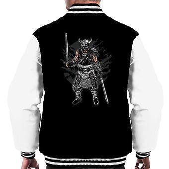 Dark Viking And Swords Motif Men's Varsity Jacket