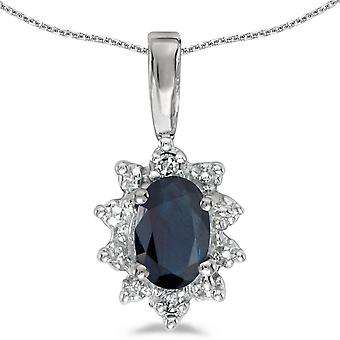 14k White Gold Oval Sapphire And Diamond Pendant with 18