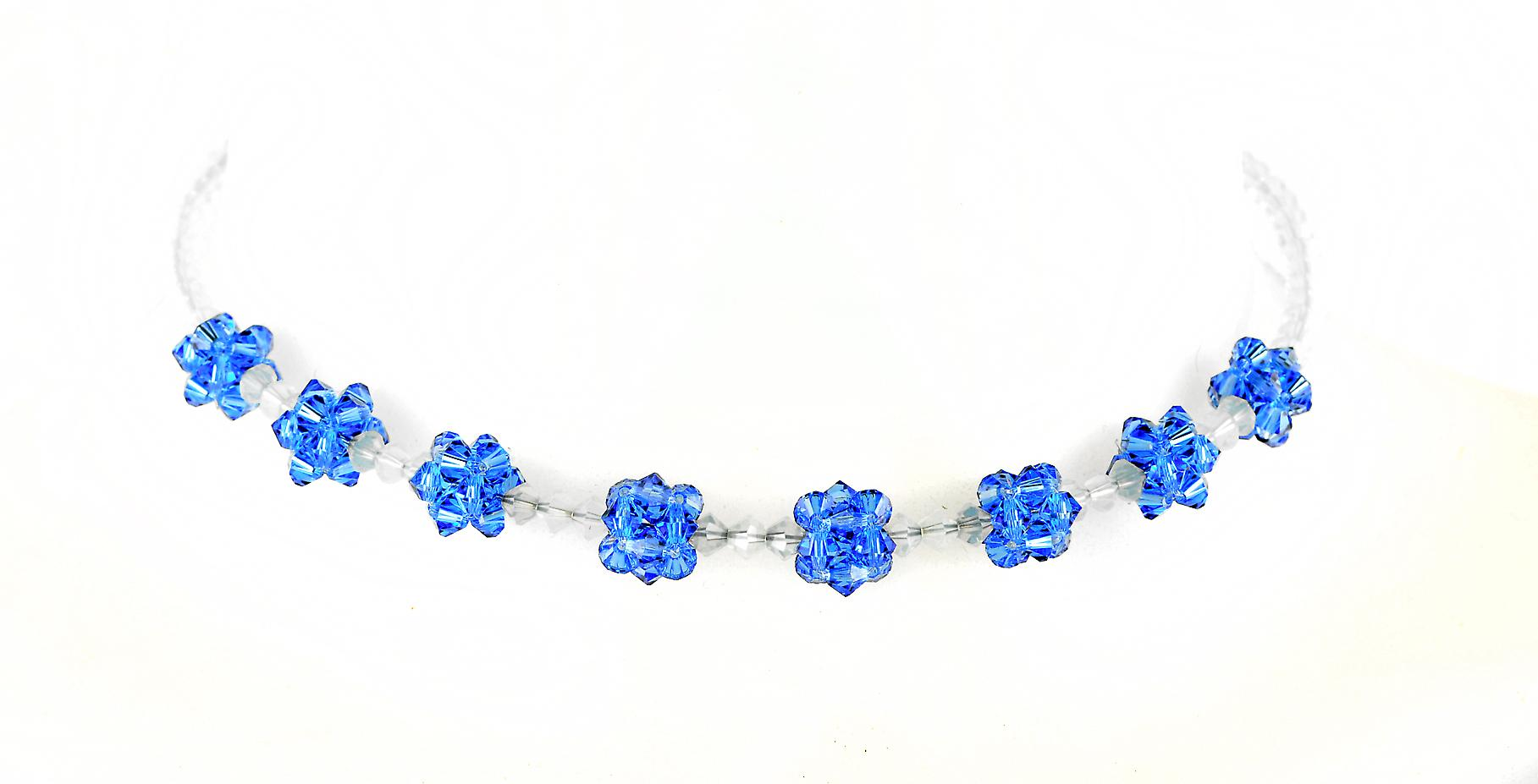 Waooh - Fashion Jewellery - WJ0296 - Necklace with Strass Swarovski white & blue