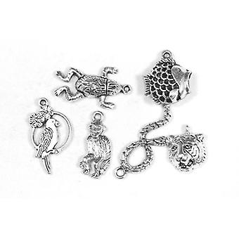 Packet 6 x Antique Silver Tibetan 20-35mm Amazon Charm/Pendant Set ZX17780