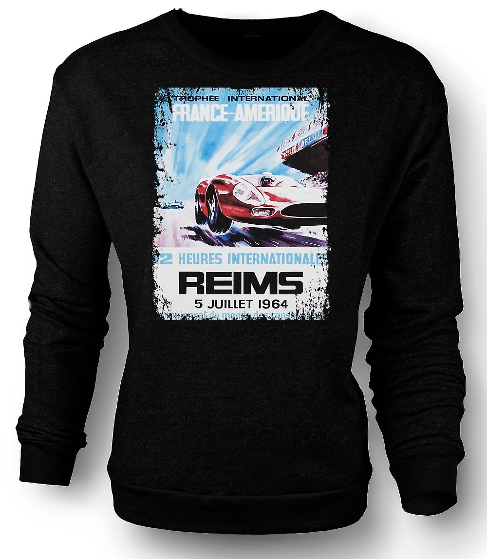 Mens Sweatshirt Reims Grand Prix 64 - Racing Car