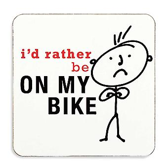 Mens I'd Rather Be On My Bike Coaster Cork Back