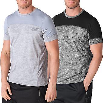 スケッチャーズ パルサー メンズ ショート スリーブ ジム トレーニング フィットネス T シャツ トップを実行します。