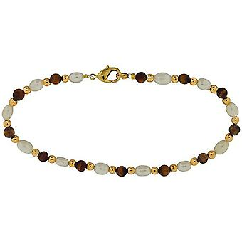 Toc Freshwater Pearl and Tigers Eye Gold Tone Bead Bracelet.