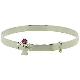 Jo For Girls 925 Silver July Red Simulated Birthstone Angel Bangle