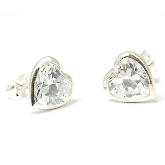 The Olivia Collection S. Silver Heart Shaped Stud Earrings with Cz Plus Pouch