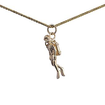 9ct Gold 27x8mm Aqualung Diver Swimming Pendant with a 1.1mm wide spiga Chain 16 inches Only Suitable for Children