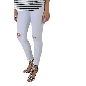 Lovemystyle White High Waisted Skinny Jeans With Knee Rips