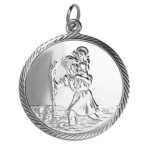 Silver 25mm round diamond cut edge St Christopher Pendant