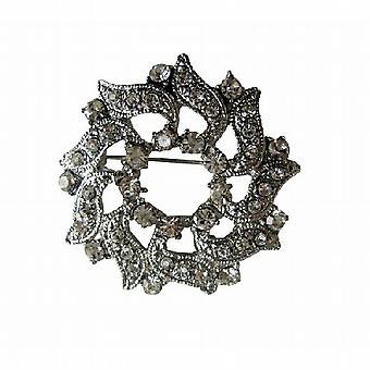 Ganske juvelen Cubic zirkon simulert Diamond rundt glitrende brosje Pin