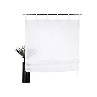 my home Roman shade of transparent Voile curtain with ruffled strips white