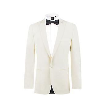 Dobell Mens Tuxedo bianco cena giacca Slim Fit picco risvolto